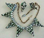 Iridescent, shimmering auora borealis necklace and earrings.