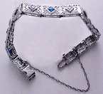 Oh, what a diamon-licious line bracelet, accented with sapphires!