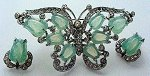 Wonderful celadon green butterfly pin and matching clip earrings will cool your hot summer nights!